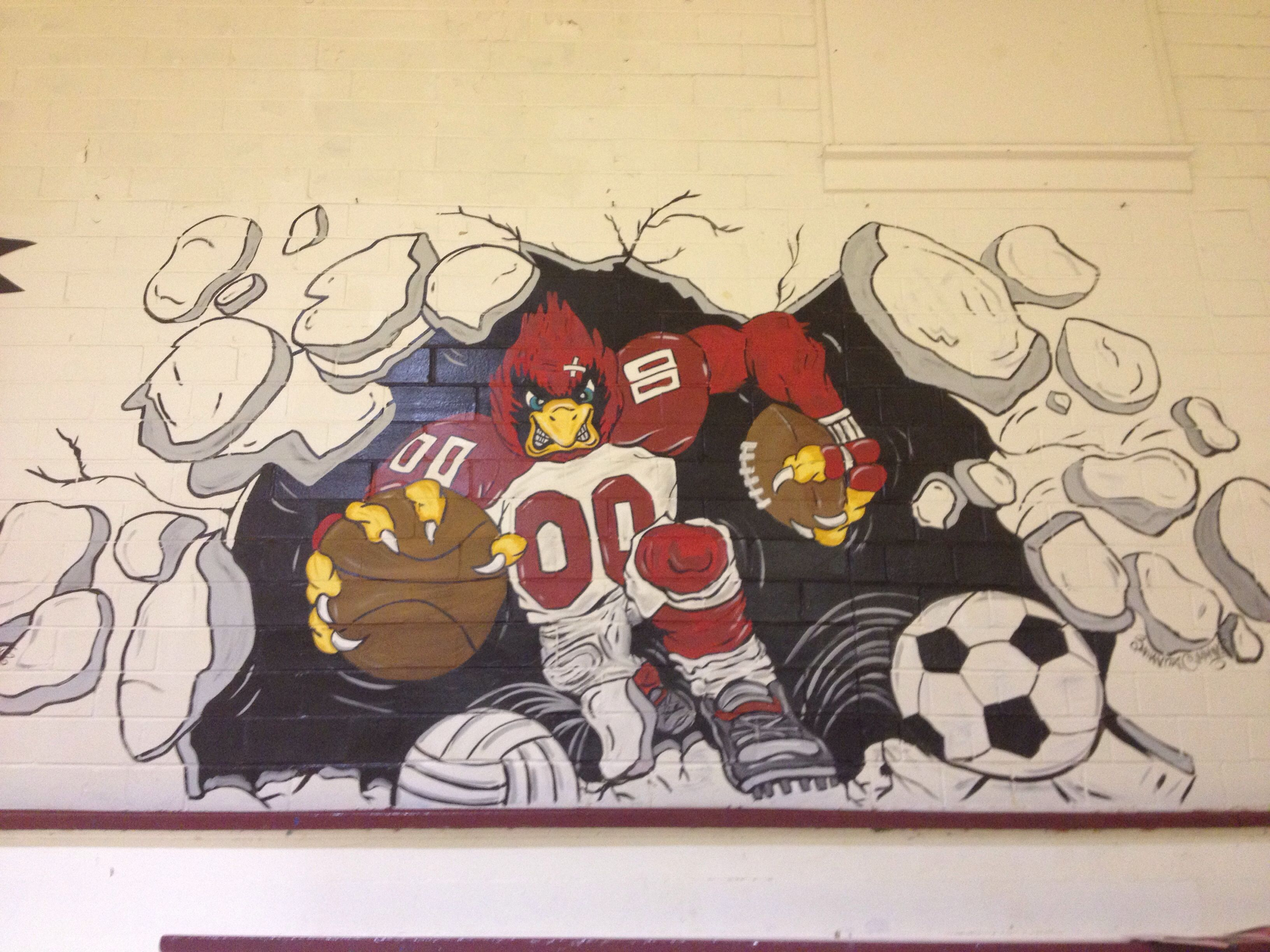 I Painted This Cardinal Mascot Mural In The Gym At My School School Murals Art Lesson Plans