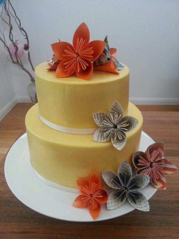 70th Birthday Cake With Origami Flowers Origami Wedding