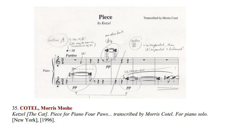 Piece for Piano: Four Paws. Composed by Ketzel