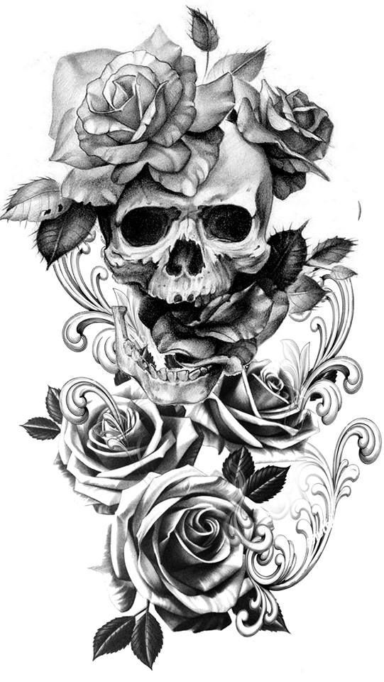 Motorcycle Helmet Art Skull Rose Tattoos Skull Tattoo Flowers