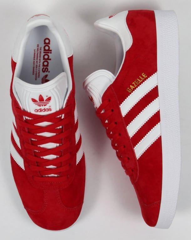 Adidas Gazelle Trainers RedWhite | Adidas gazelle, Adidas
