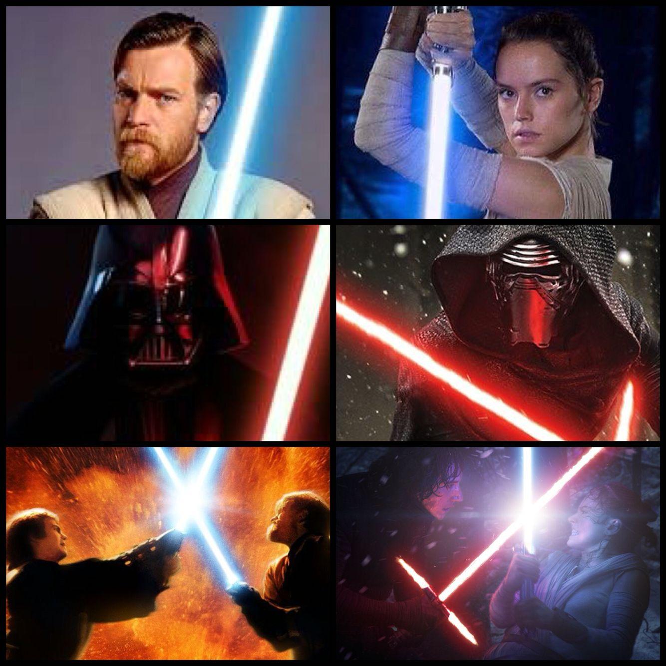 Rey & Obi Wan v Kylo & Vader