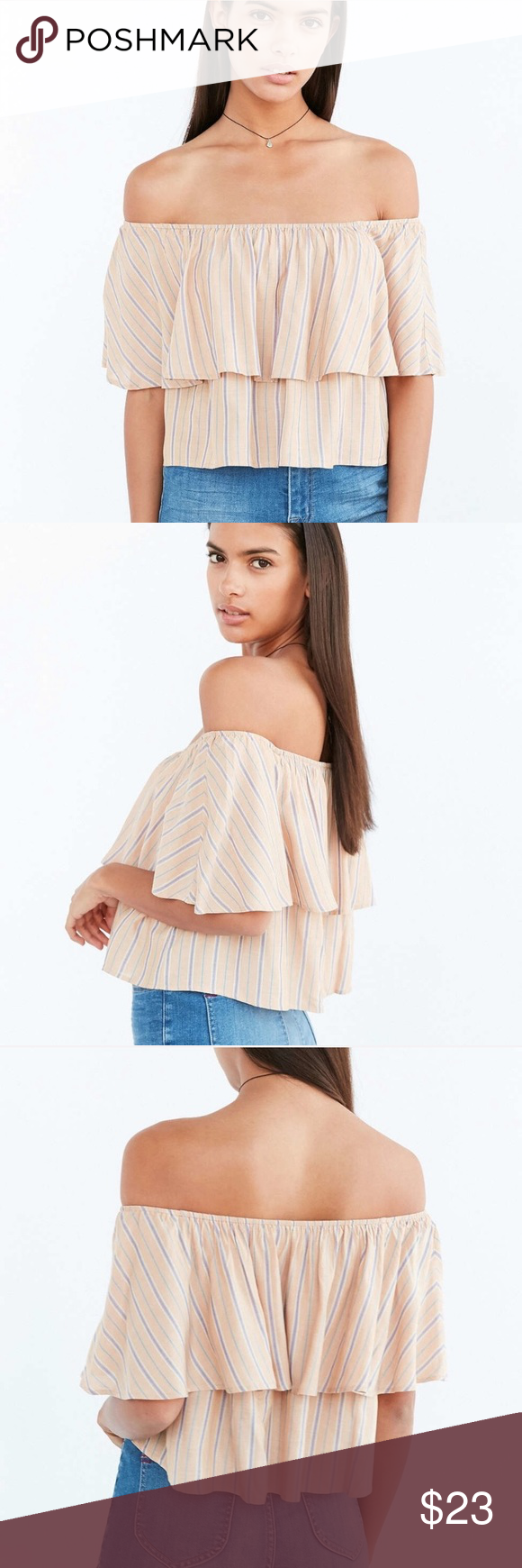 d99c57461c7 Orange Raquel Ruffle Stripe Off-the-shoulder Top Kimchi Blue Orange Raquel  Ruffle Stripe Off-the-shoulder Blouse from Urban Outfitters.