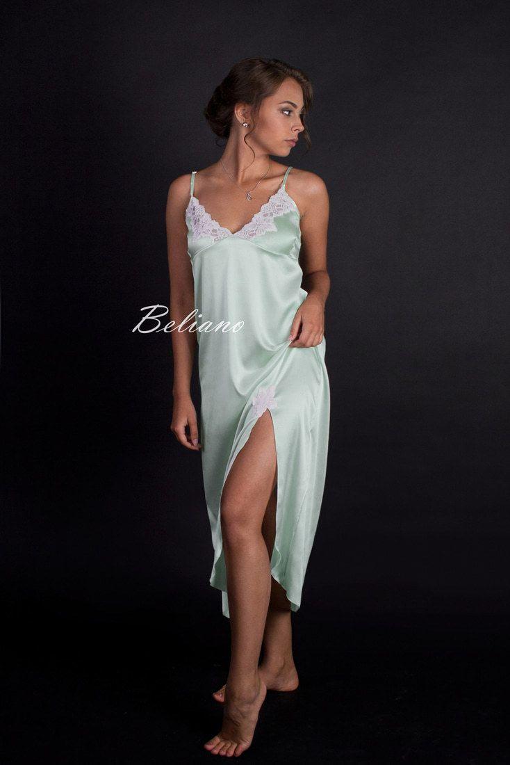 176af03bee593ac Красивая длинная ночная рубашка (сорочка, ночнушка, комбинация) шелковая.  Натуральный шелк, цвет мята, фото, цена, купить