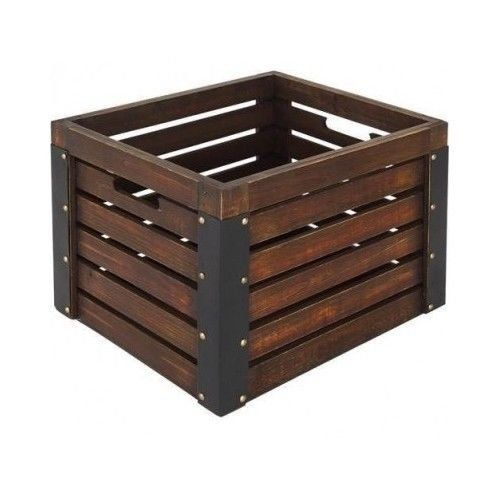 Wooden Storage Crate New Rustic Metal Milk Organize Decor Tray Vinyl Record  Carrier Null Http: