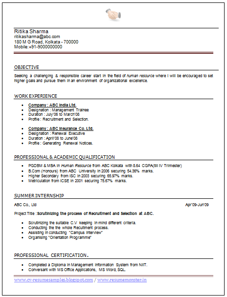Exceptionnel Professional Curriculum Vitae / Resume Template Sample Template CV Of Great  MBA HR Resume With Experience