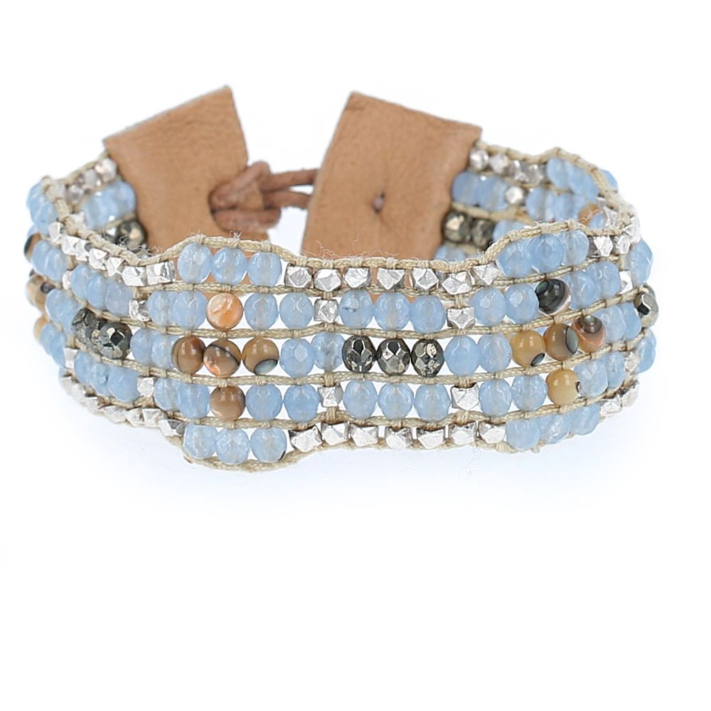 Blue Mix Leather Cuff Bracelet - Chan Luu