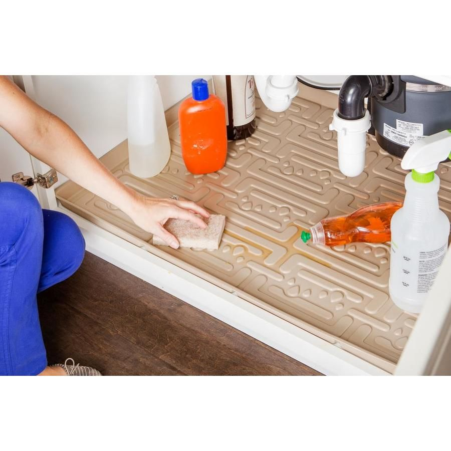 Xtreme Mats Kitchen 22 In X 31 In Beige Cabinet Mat Fits Cabinet Size 31 In X 22 In Lowes Com In 2020 Under Kitchen Sinks Sink Cabinet Kitchen Sink Organization