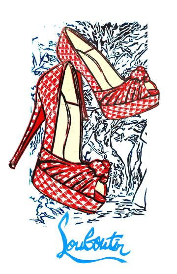 Christian Louboutin tribute by illustrator Lis Sartori