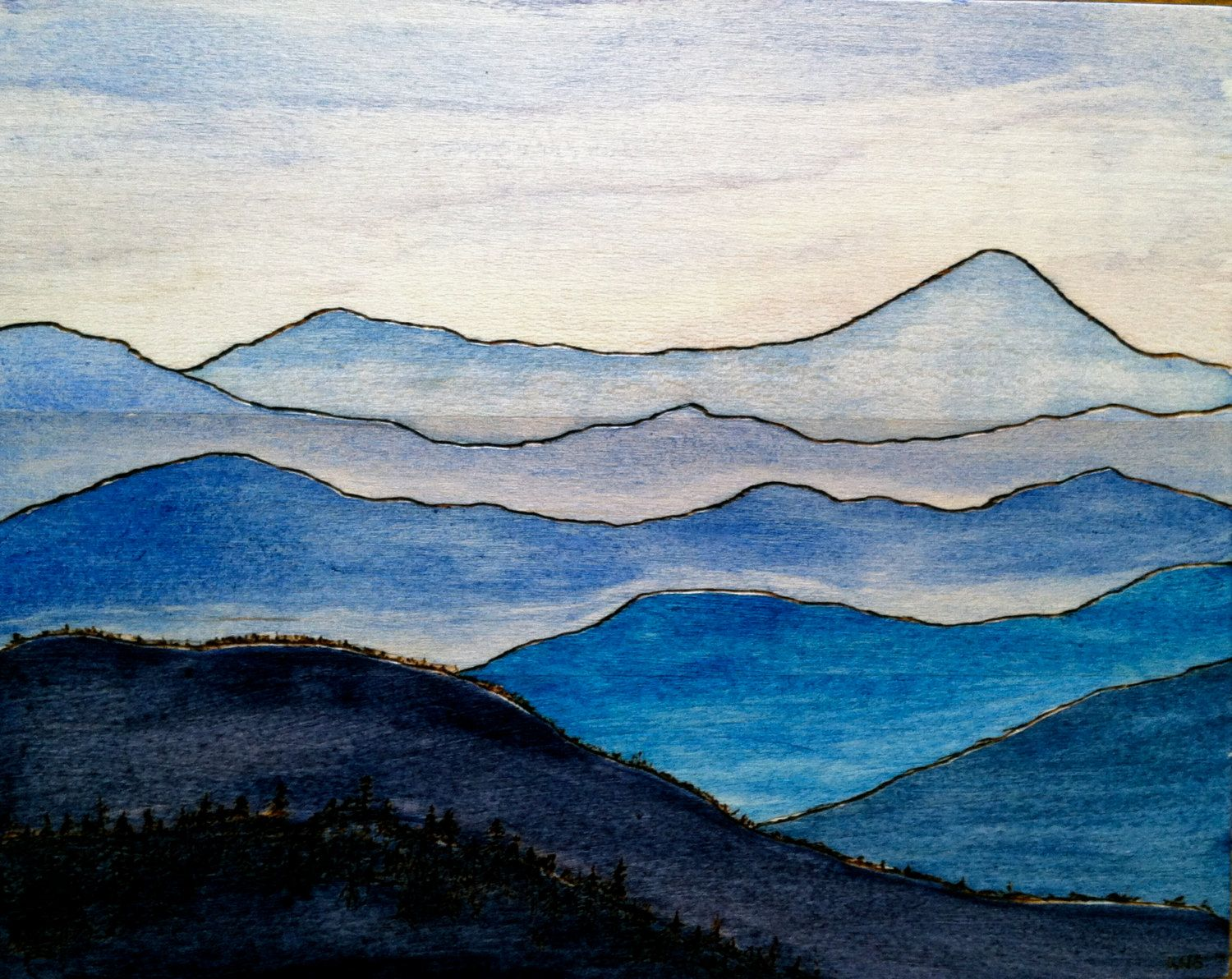 Wood Burning Watercolor Painting Blue Ridge Mountains Watercolor