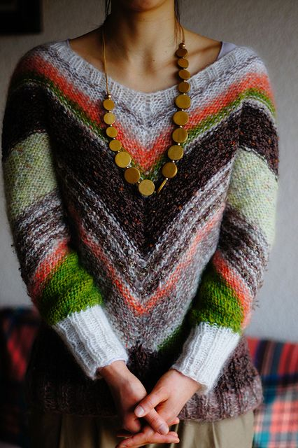 Ravelry Colorful stripe mohair sweater pattern by Mariko Mikuni ...