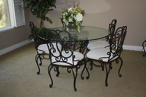 Gorgeous Bombay Company Glass And Iron Scroll Dining Room Table And 6 Chairs Dining Room Table Table Dining
