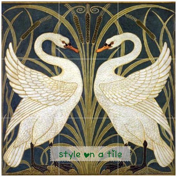 Art nouveau walter crane white swans iris bullrush 9 x 6 for Art deco tile mural