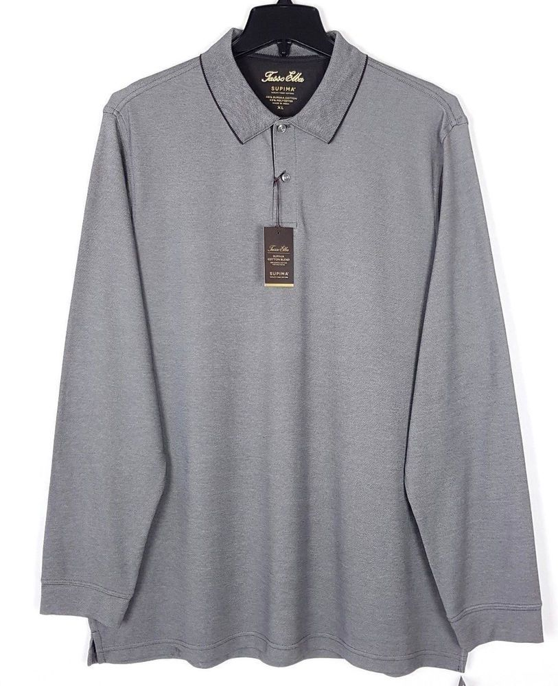 2cb695c28a7 TASSO ELBA Mens Supima Cotton Long Sleeve POLO SHIRT NEW Grey Black Size XL  #fashion #clothing #shoes #accessories #mensclothing #shirts (ebay link)