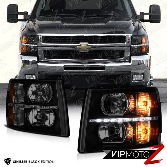Built In Led Drl 2007 Chevy Silverado 1500 2500hd 3500hd Smoke Headlights Vipmotoz