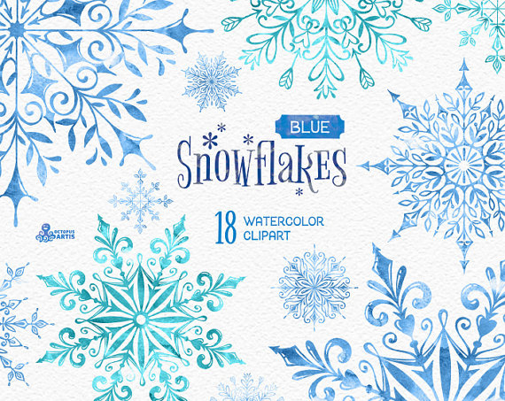 Snow watercolor. Snowflakes blue separate elements