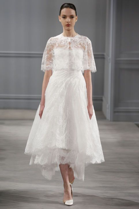 Pretty Tea Length Monique Lhuillier Dress With Lace Capelet Http Pinterest