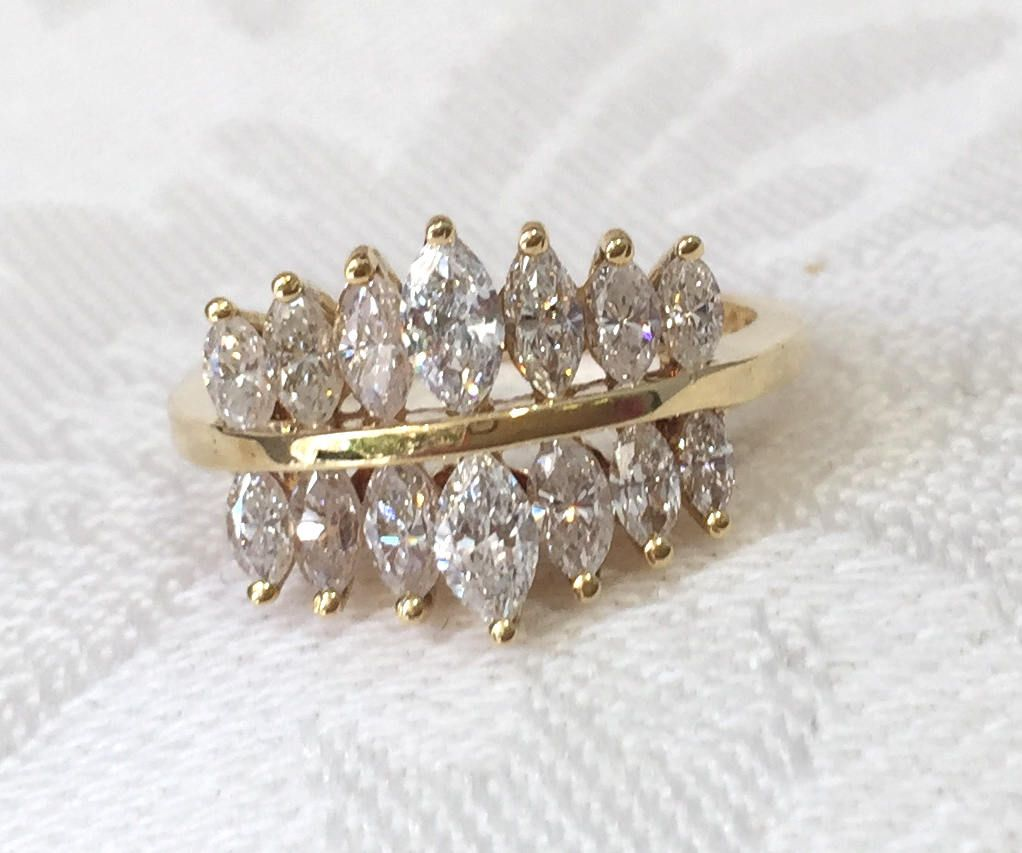 Marquise Diamond Anniversary Band Ring Vintage Diamond Wedding Band 18k Yellow Vintage Diamond Wedding Bands Diamond Anniversary Bands Diamond Wedding Bands