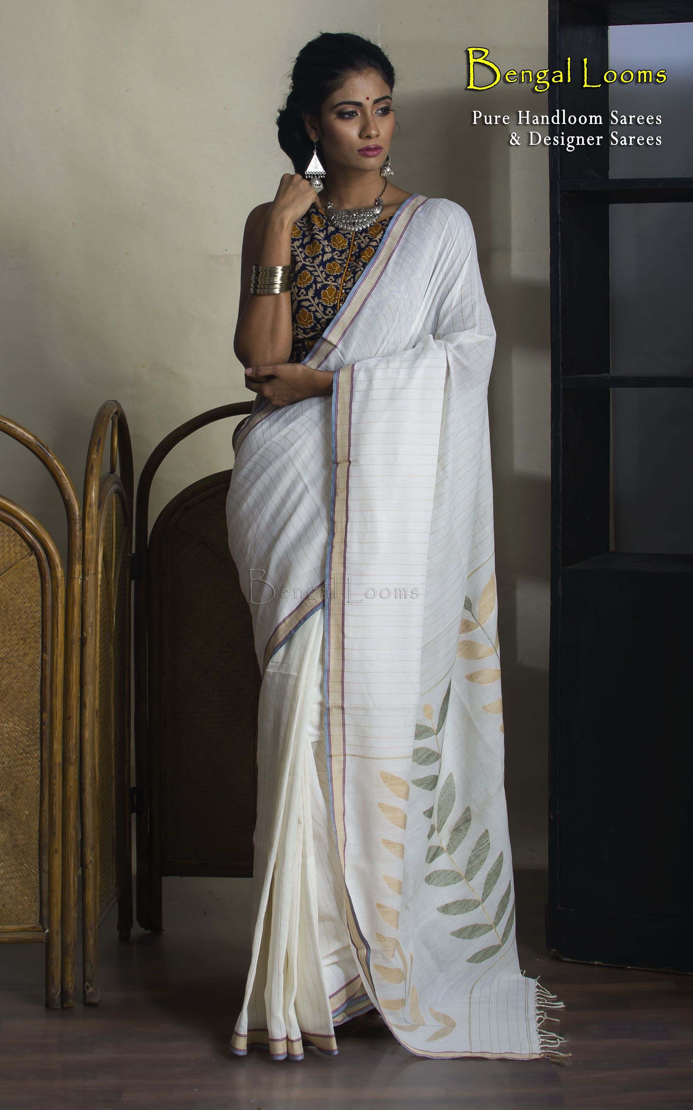 28888eacce Khadi Soft Cotton Saree in Off White | Khadi Sarees in 2019 | Saree ...