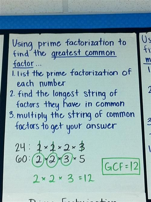 Prime Factorization To Find The Gcf  Math Anchor Charts