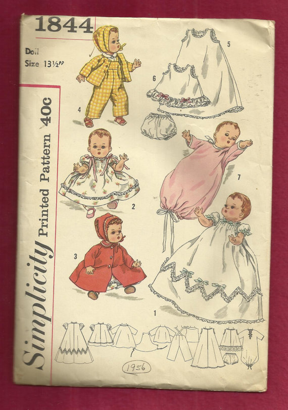 Vintage 1956 Simplicity 1844 Baby Doll Wardrobe Pattern Christening Gown Bonnet Coat & More Size 13.5 inch Doll