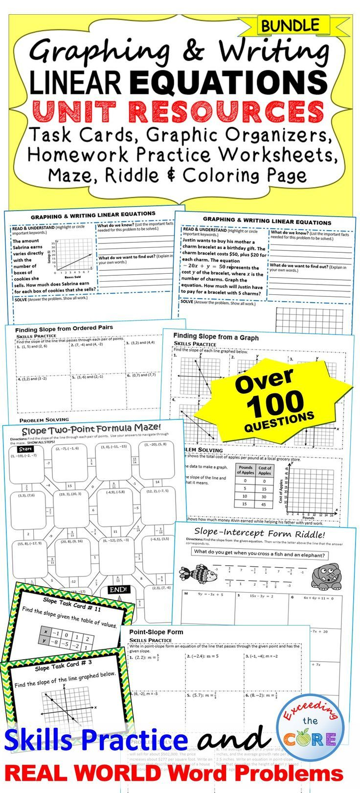 GRAPHING & WRITING LINEAR EQUATIONS + SLOPE Bundle Basic
