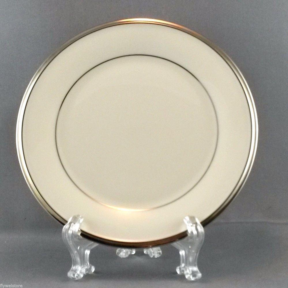 "Lenox Solitaire Bread & Butter/Cake Plates (2) 6.5"" Cream & Platinum Fair Cond. #Lenox"
