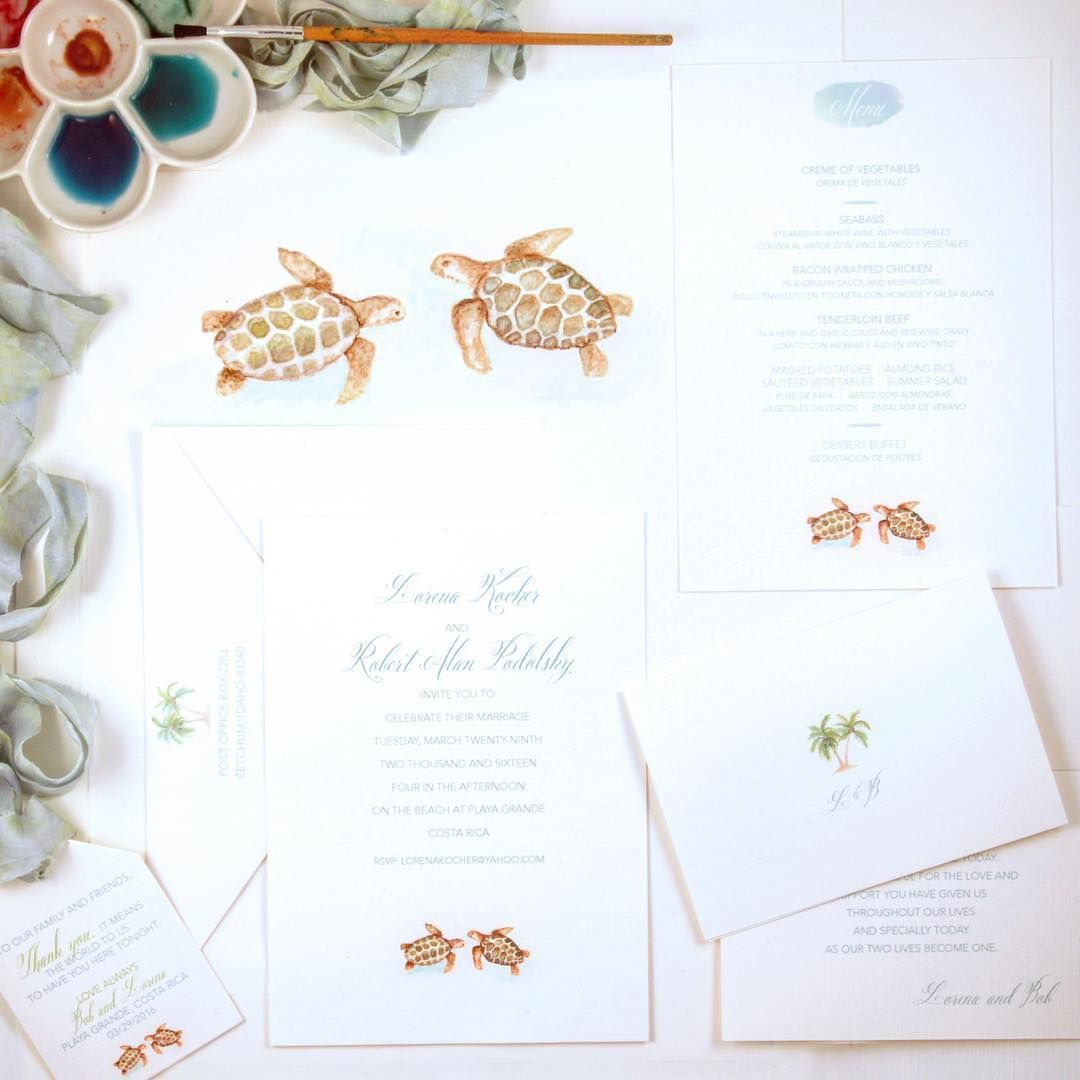 Costa Rica Beach Wedding with Watercolor Turtles Wedding Invitation ...