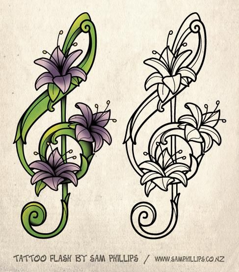 Flower Drawings For Tattoos Designed This Musical Note Tattoo For