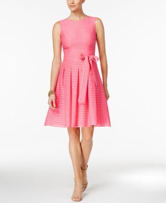 Tommy Hilfiger Illusion-Striped Fit & Flare Dress | macys.com ...