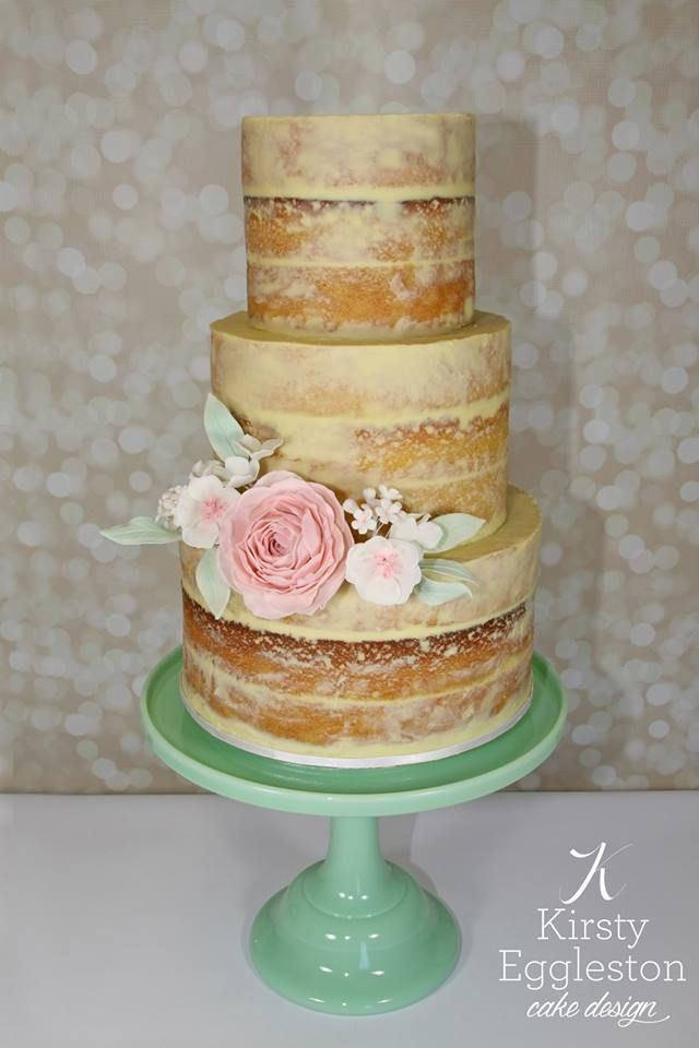 Naked Wedding Cake With Delicate Gumpaste Flowers