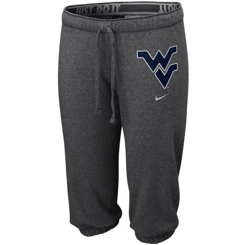 $44.95 Nike West Virginia Mountaineers Ladies Charcoal Team Logo Heathered Capri Pants