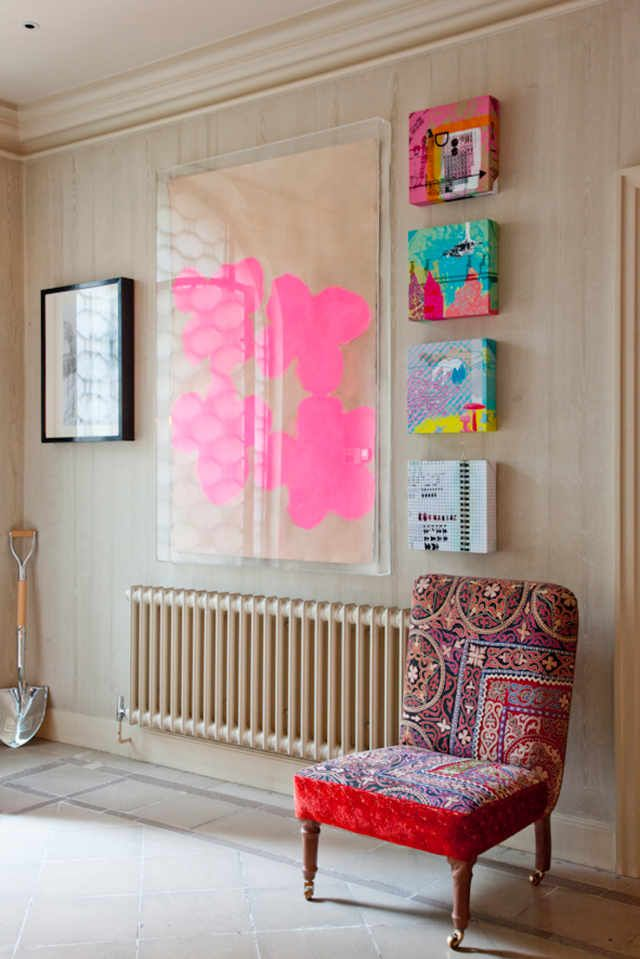 art in acrylic frame, chair, and radiator