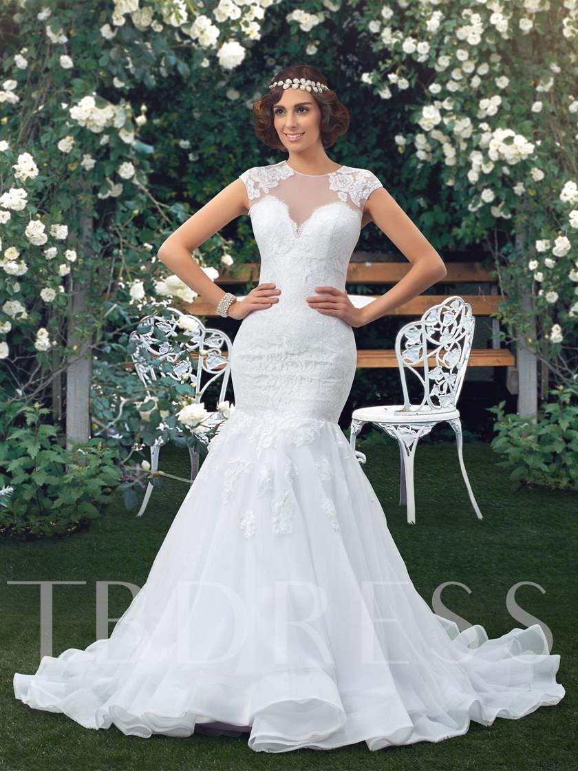 Jewel Neck Short Sleeve Sheer Back Lace Mermaid Wedding