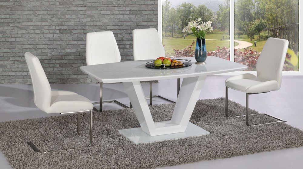 Contemporary V White High Gloss And Glass Dining Table With 4x