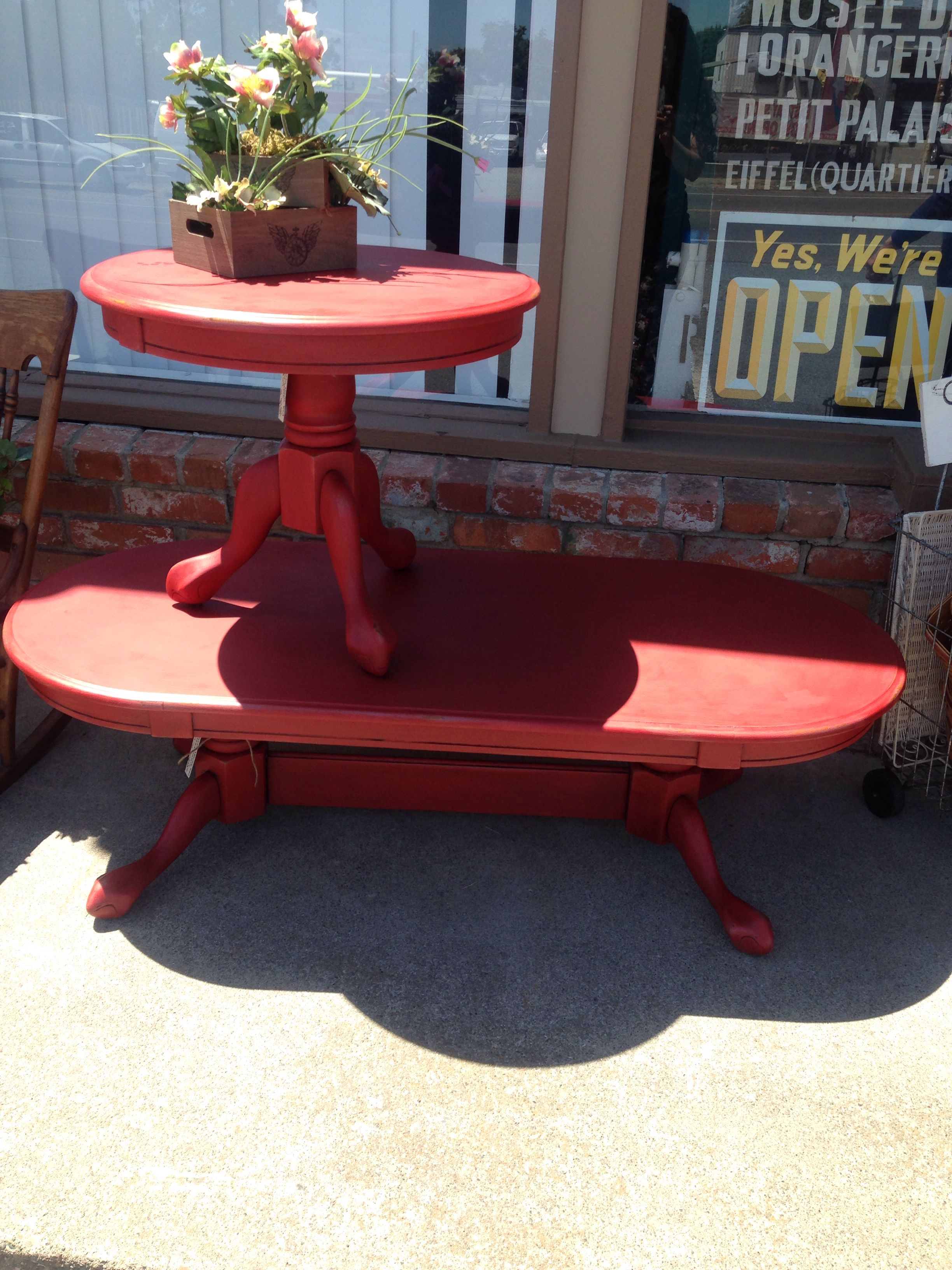 Red Farmhouse Coffee Table End Set By Ruffles And Rust Rufflesandrust