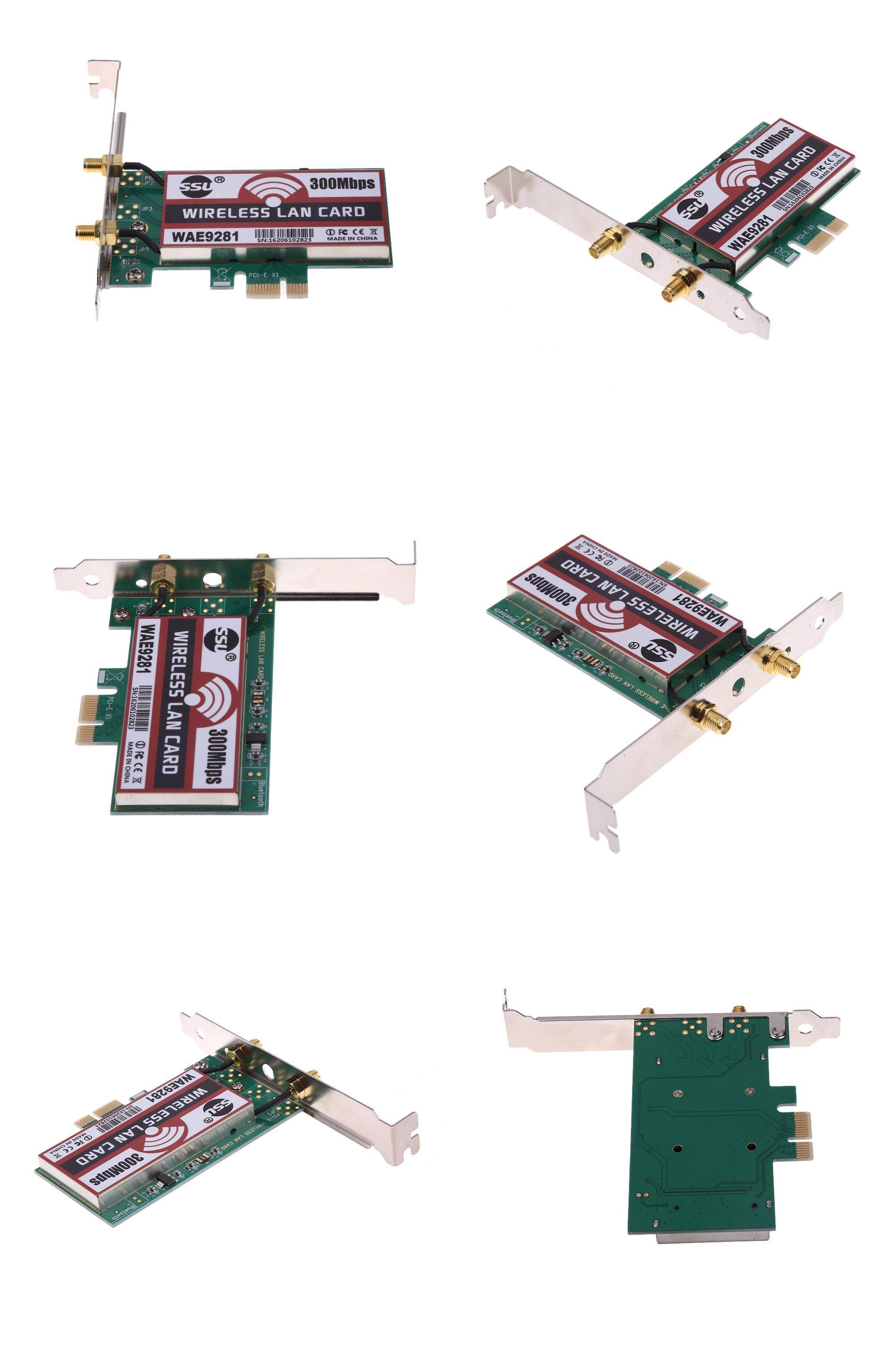 300M Wireless PCI-E WiFi Network Adapter LAN Cards for Desktop PC 2 Antenna