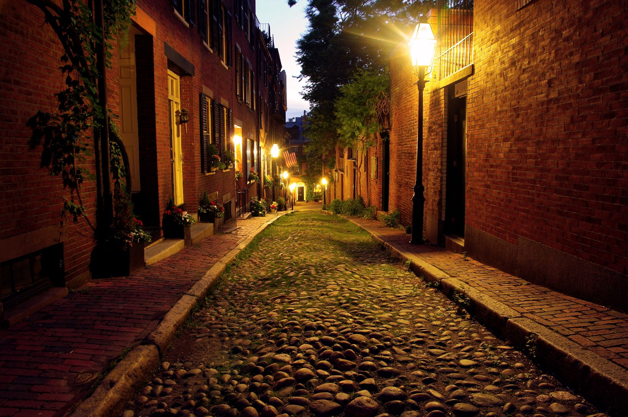 Night time cobble stone road in Boston Massachusetts, lit only by ... for Road Lamp At Night  181plt