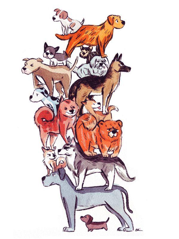 Image Of Stacked Dogs Original Or Print Dog Print Art Dog