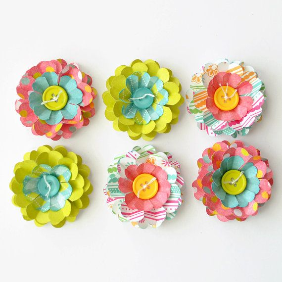 Handmade Dimensional Flowers With Button Centers Qty 6 Card