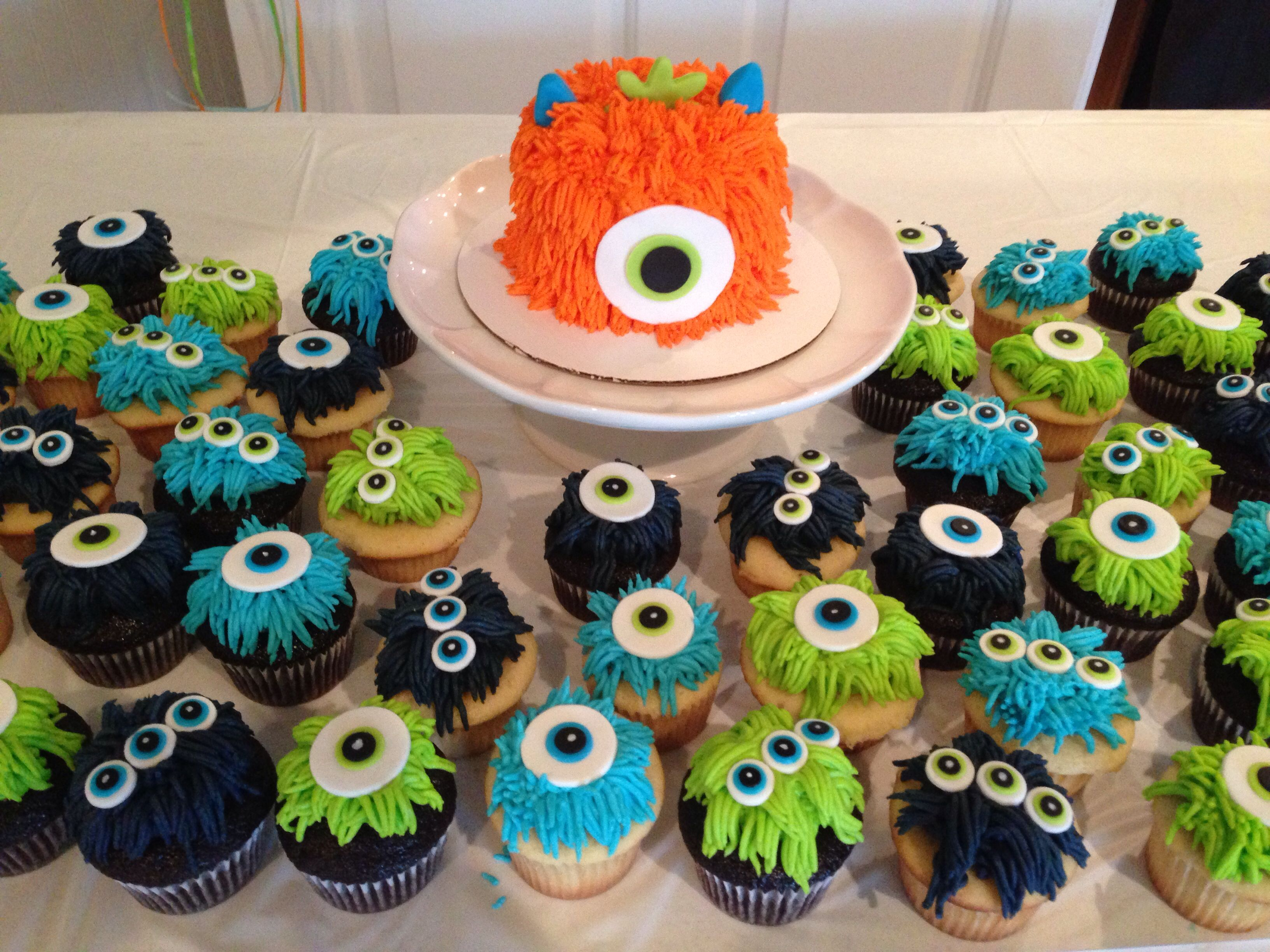 Monster Theme Cupcakes And Smash Cake Birthday Cakes And Cupcakes