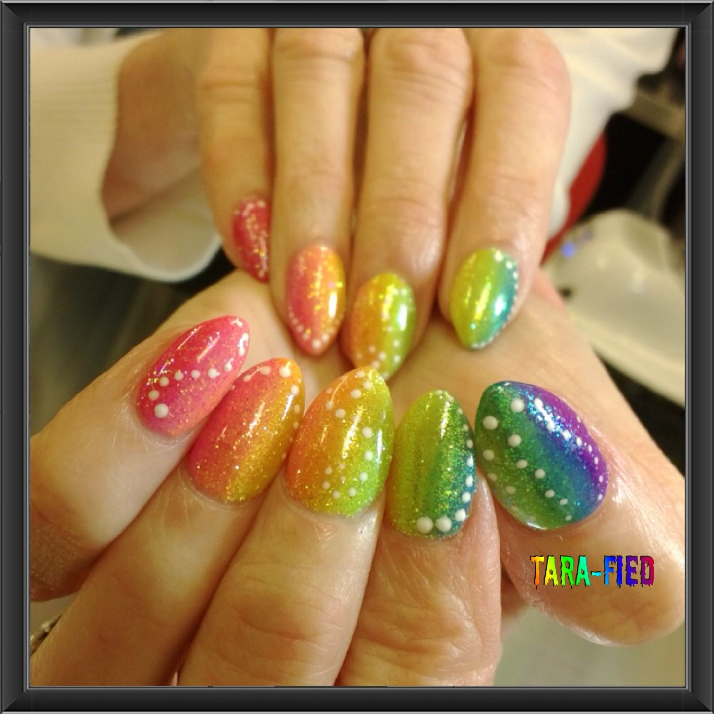 Almond shaped neon rainbow Gelish with glitter. Tara-Fied Nails ...
