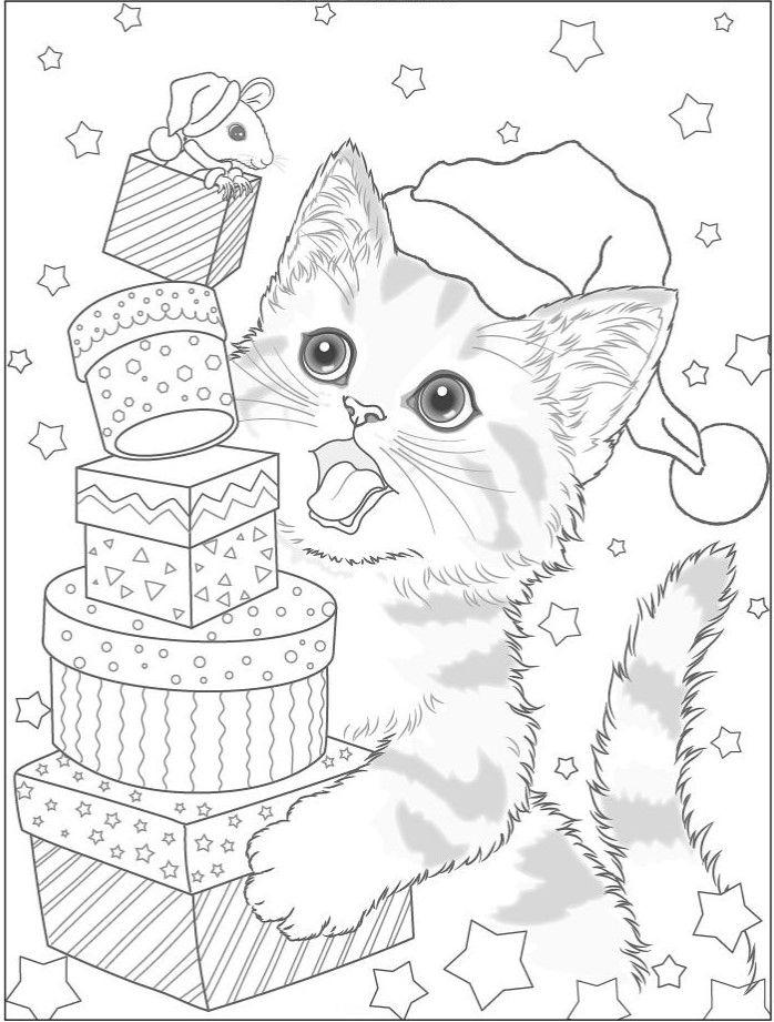 Кот и мышка с подарками - Новый год | Рисунки для ...