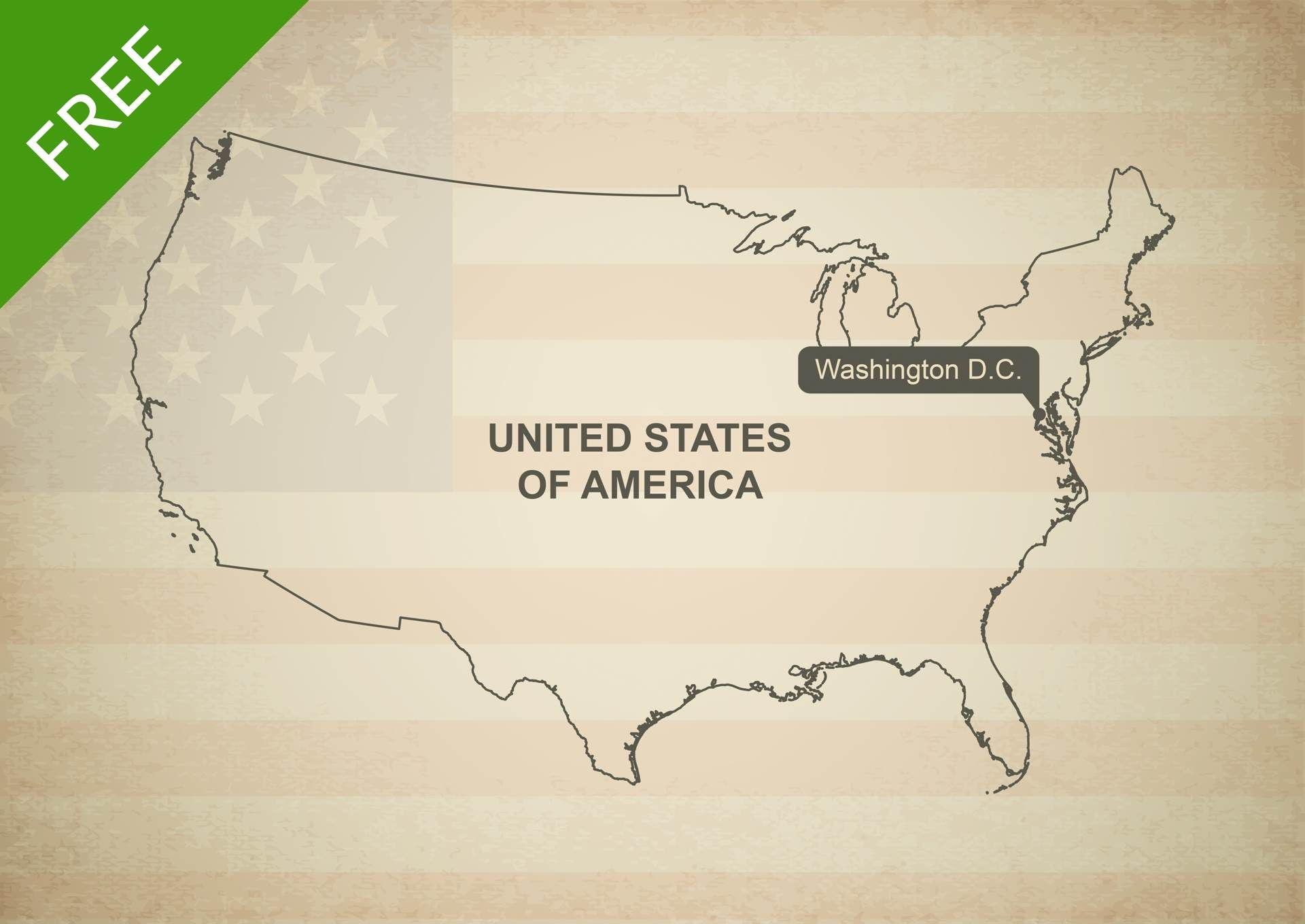Free Vector Map Of United States Of America United States - Us Map With States Outlined Vector