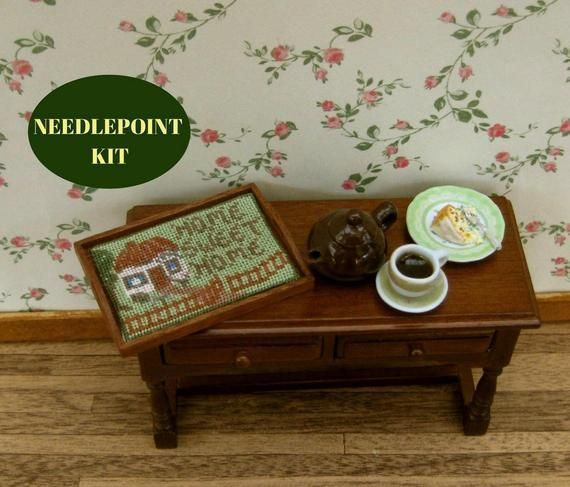 Victorian dollhouse, Victorian dollhouse furniture, Victorian doll house, Dollhouse accessories, 12 scale, Needlepoint kits, Dollhouse tray #victoriandolls Make your dollhouse special with these 1:12 scale doll's house needlepoint embroidery kits - this traycloth kit comes complete with everything you need, including the mahogany pieces for the tray! #dollhouseaccessories Victorian dollhouse, Victorian dollhouse furniture, Victorian doll house, Dollhouse accessories, 12 scale, Needlepoint kits, #victoriandollhouse