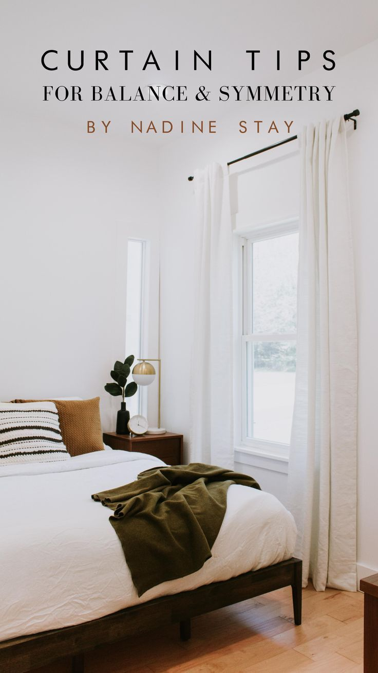 THIS WINDOW TREATMENT UPDATE MADE ALL THE DIFFERENCE | Nadine Stay :  Curtain tips for balance and symmetry by Nadine Stay. How to hang curtains, drapes, and panels. Curtain do's and don'ts for the bedroom, office, living room, and home. #curtains #modernhome #interiordesigntips  home Decorating Tips and Ideas There are many alternative things you can complete to your little bedroom appearance to appropriate the feeling of glow and relaxation. * choose colors in your bedding and wall paint that