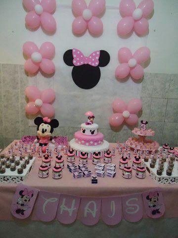 festa minnie rosa aniversrio mesa simples minnie