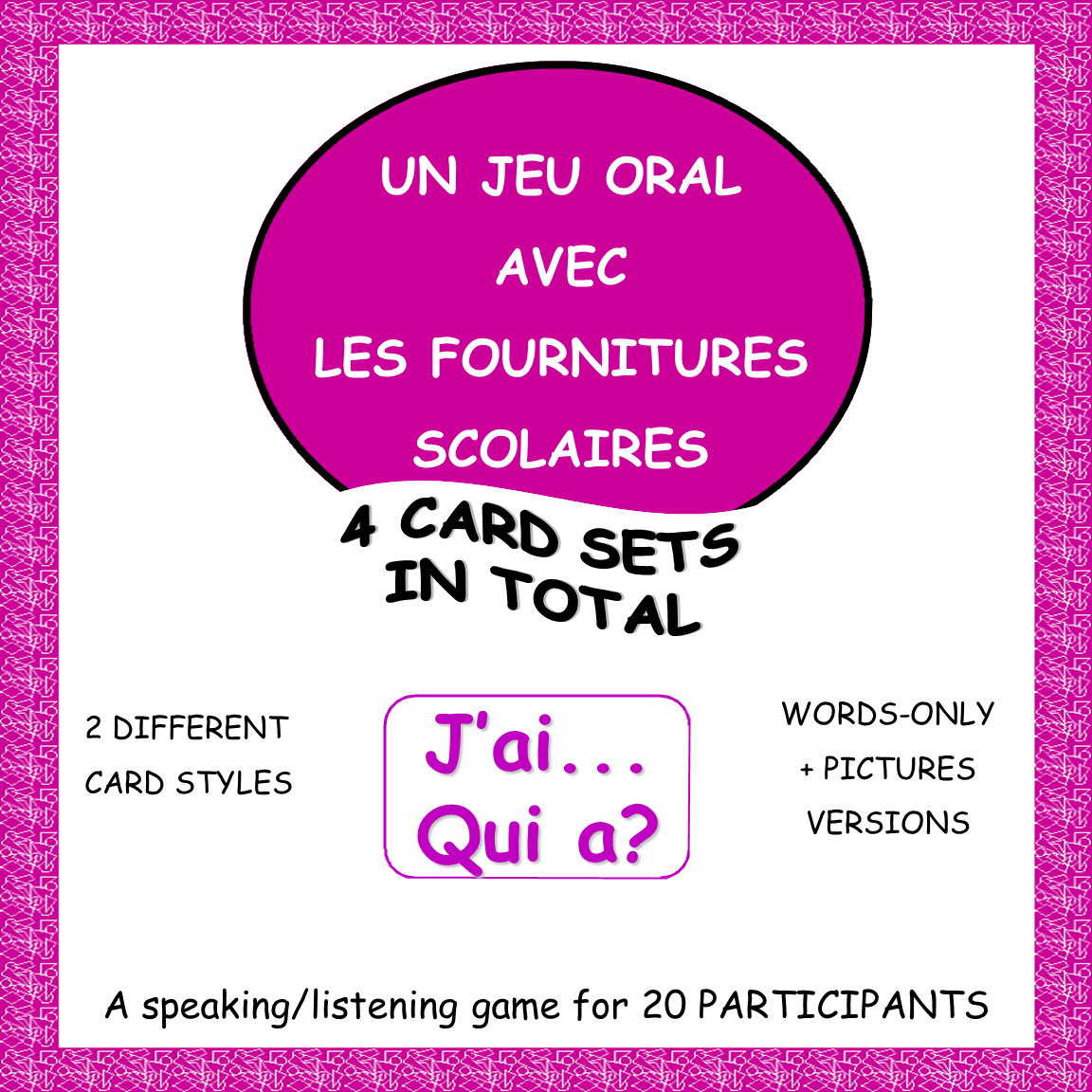 French School Supply Vocabulary Game