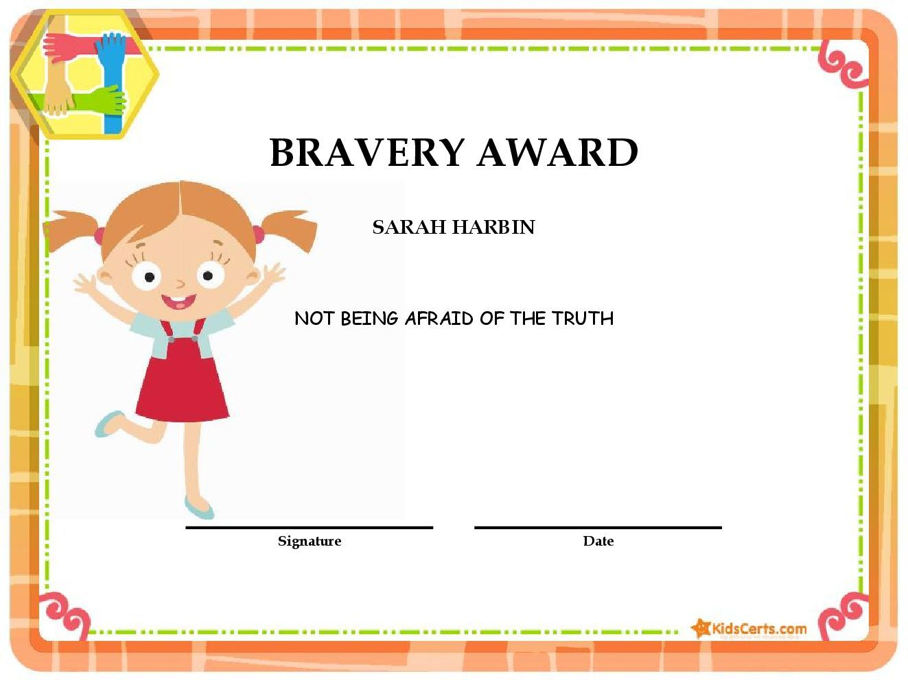 Bravery award baby pinterest free create your very own award personalized printable award certificates for children go from zero to print in under 3 minutes yadclub Gallery