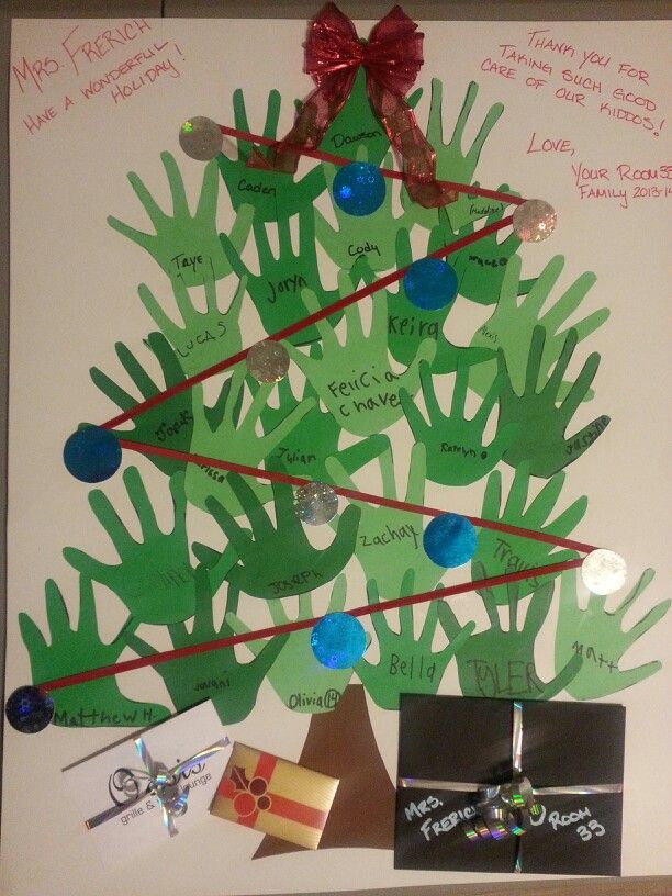 christmas card for a teacher from the whole class made with the kids hand prints